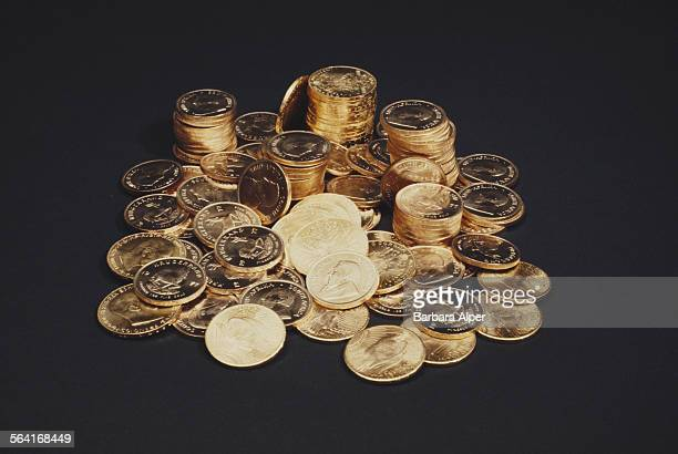 Pile of South African Krugerrand gold coins, USA, circa 1990.