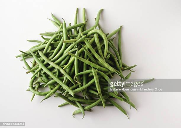Pile of string beans, white background