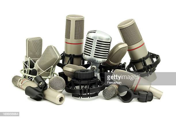 pile of studio microphones - big mike stock pictures, royalty-free photos & images