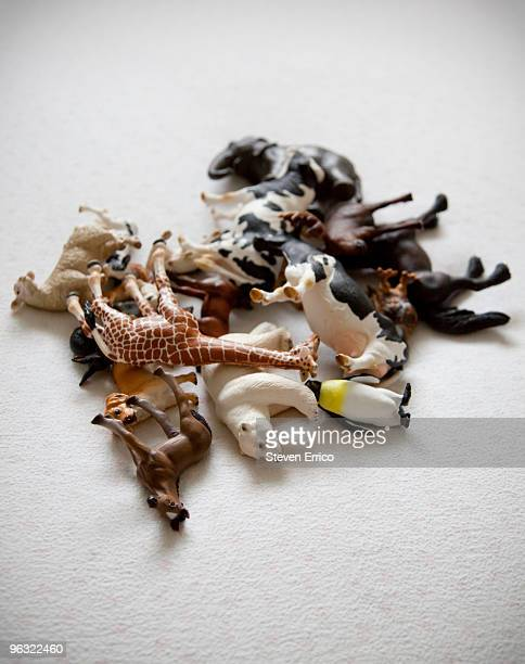 pile of toy animals on mattress - toy animal stock photos and pictures