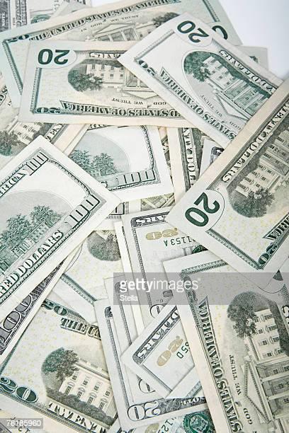 A pile of twenty dollar bills