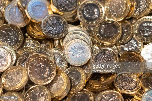 A pile of UK pound coins on November 1 2019 in Cardiff United Kingdom