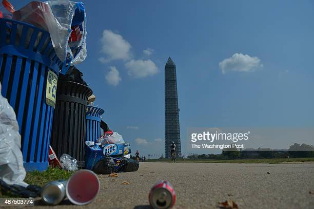 A pile of uncollected trash sits at the Washington Monument on October 4 2013 in Washington DC Trash on the National Mall and other federal parks are...
