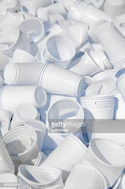 pile of used white plastic disposable cups - disposable cup stock pictures, royalty-free photos & images