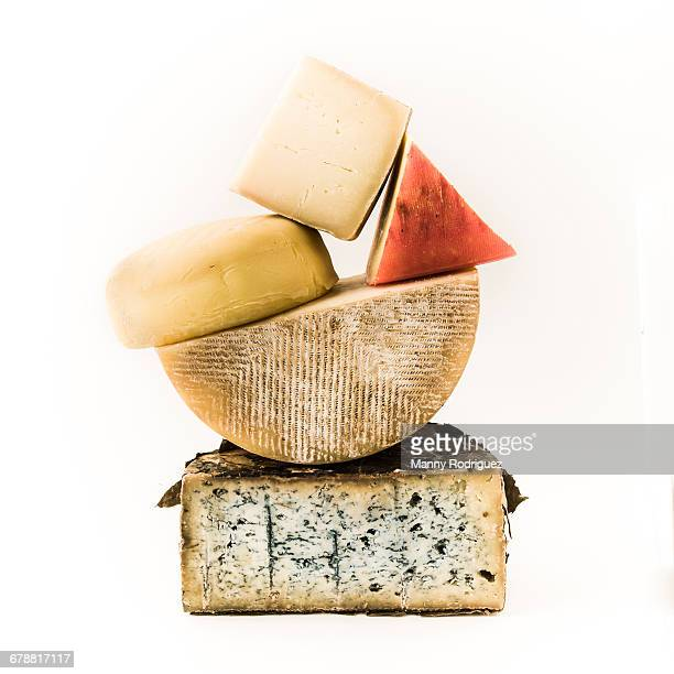 pile of variety of cheeses - cheese stock pictures, royalty-free photos & images