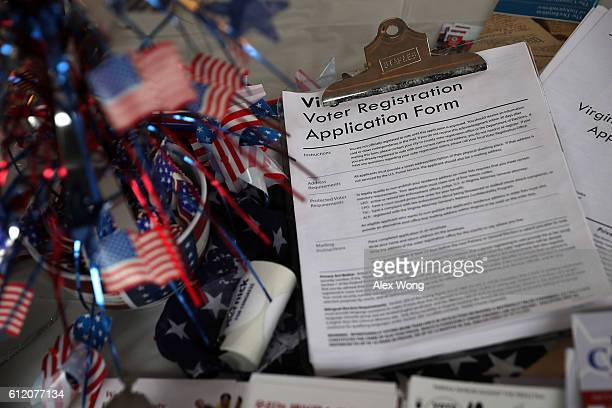 A pile of voter registration forms is seen at the booth of Fairfax County Republican Committee during the annual KORUS festival a Korean cultural...