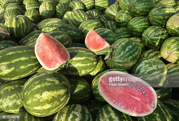 A pile of watermelons for sale at an open air market in Belém