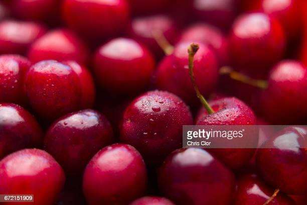 pile of wet red cherries - kirsche stock-fotos und bilder