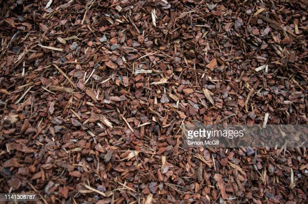 a pile of wood chips to be used as landscaping mulch - mulch stock pictures, royalty-free photos & images