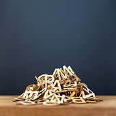 pile of wooden letters background