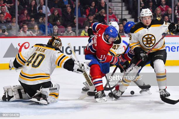 Pile up and loose puck in front of Boston Bruins Goalie Tuukka Rask during the Boston Bruins versus the Montreal Canadiens game on January 13 at Bell...