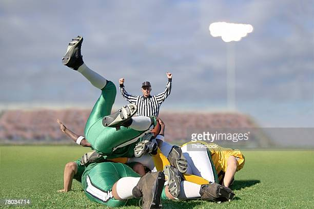 Pile up of football players