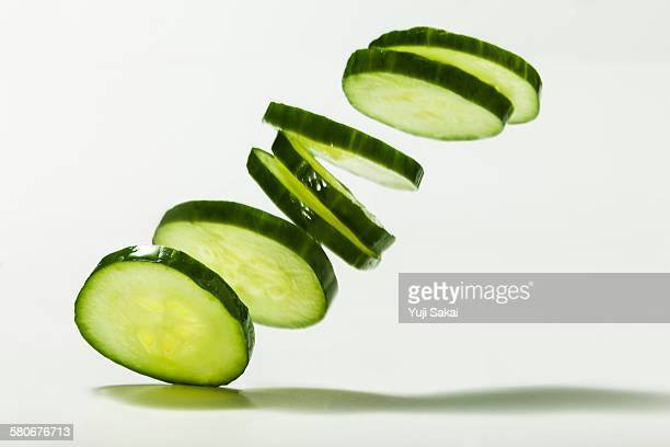 pile up sliced cucumber