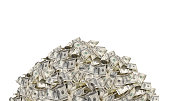 Pile with American one hundred dollar bills isolated on white background