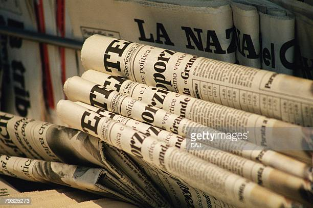 Piled Newspaper, Close Up, Differential Focus