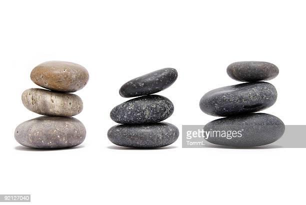 piled round granite stones