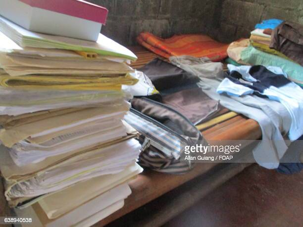 Piled up files near the clothes
