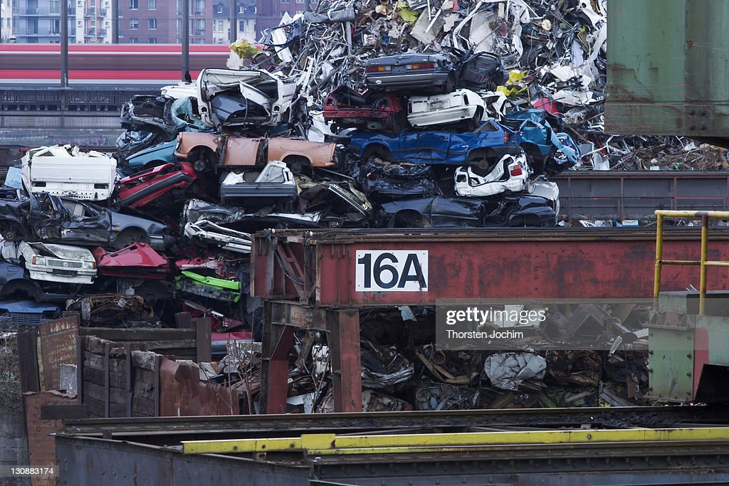 A Piled Up Heap Of Old Trash Cars In The Eastern Harbor Of Frankfurt ...