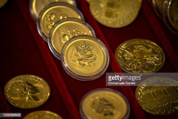 Piles of 1 oz bullion gold coins are seen at the World Money Fair 2020 on February 02 2020 in Berlin Germany
