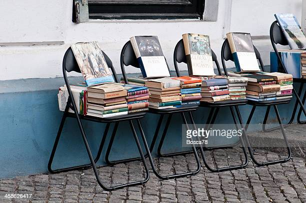 Piles of book outside a bookstore in Ljubljana