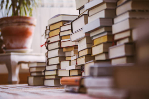 piles of books stacked on a carpet picture