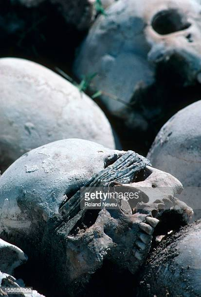 Piles of freshly unearthed skulls of the Khmer Rouge