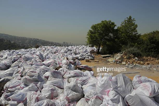 TOPSHOT Piles of garbage are pictured in a forest area overlooking the Lebanese town of Bsalim northeast of the capital Beirut on October 3 2016 /...