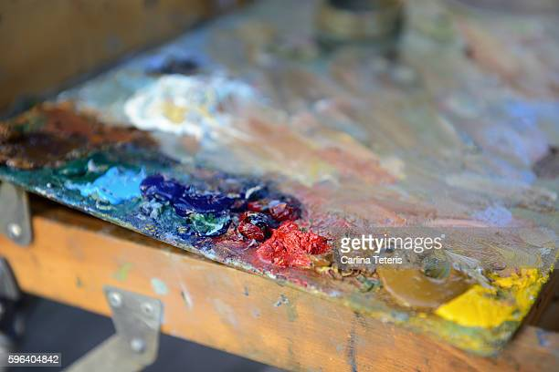 Piles of paint on an artists pallet