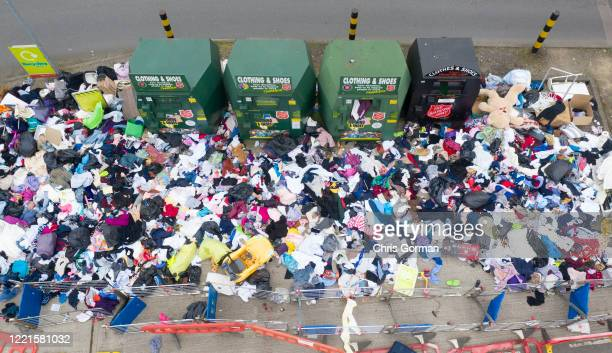 Piles of Recycling and general rubbish lay uncollected at Tesco Extra Store. People are using the time in isolation to clear out their houses of...