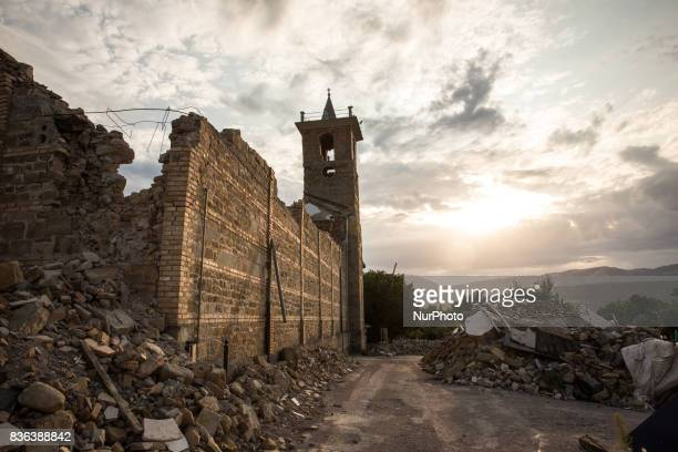 Piles of rubble in the exclusion zone in the centre of Amatrice, Italy 21 August 2017. One year ago, 299 people died as a result of the earthquake of...