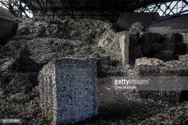 Piles of shredded waste material are seen at the Odayeri Recycling and Compost Waste Facility on March 12 2018 in Istanbul Turkey Istanbul's three...