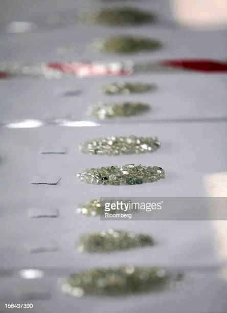 Piles of uncut diamonds are seen during the grading process in the sorting room at DTC Botswana a unit of De Beers in Gaborone Botswana on Thursday...