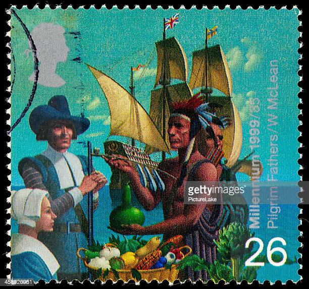 uk pilgram fathers postage stamp - pilgrims stock photos and pictures