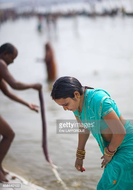 Pilgrim bathing in ganges maha kumbh mela on February 6 2013 in Allahabad India