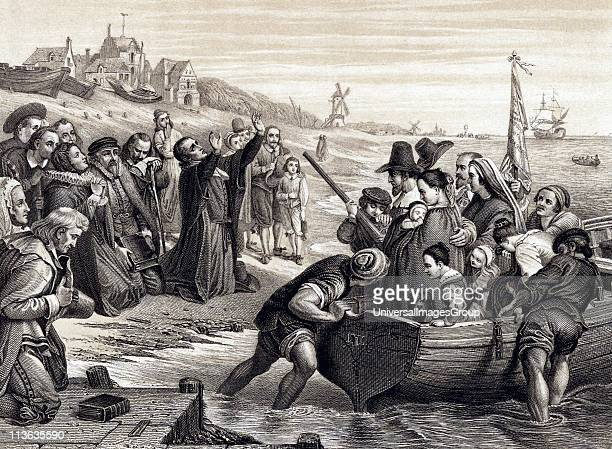 Pilgrim Fathers members of English Separatist Church sect of Puritans leaving Delft Haven on their voyage to America July 1620 1878 engraving after...