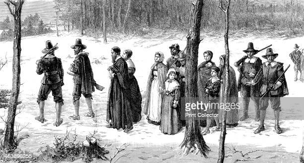 Pilgrim Fathers on their way to church 1620 Pilgrim Fathers the Puritans who settled in Plymouth in 1620 founding first permanent colony in New...