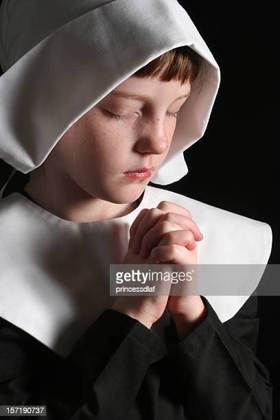 pilgrim giving thanks - pilgrims stock photos and pictures