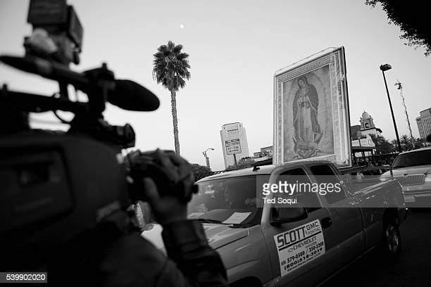 Pilgrim images of Our Lady of Guadalupe and St Juan Diego from the Basilica in Mexico City arrive in Los Angeles Hundreds of LA residents and...