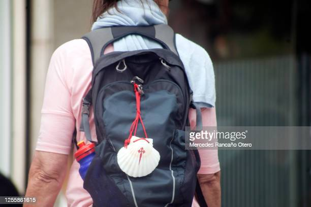 pilgrim in the 'camino de santiago', backpack and scallop shell symbol - pilgrimage stock pictures, royalty-free photos & images