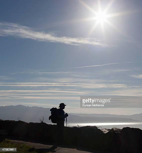 pilgrim man walker silhouette beside ocean - cammino di santiago di compostella foto e immagini stock