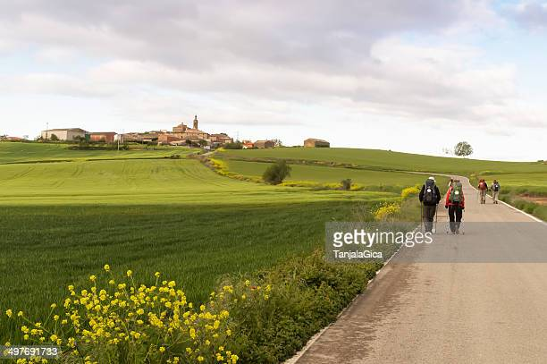Pilgrim on the road to Santiago de Compostela in Burgos
