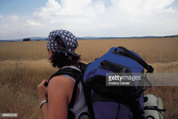 Pilgrim One goes on pilgrimage with backpack the one it travels on the way to Santiago Astorga Leon province
