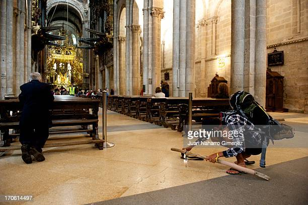 Pilgrim seen in the Cathedral at Obradoiro Square during the visit of Crown Prince Naruhito of Japan on June 15 2013 in Santiago de Compostela Spain