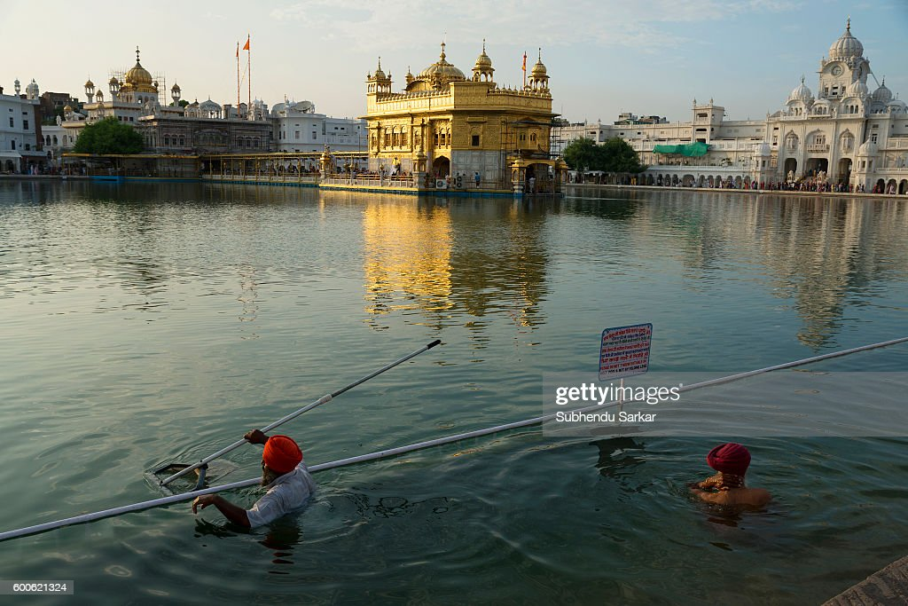 A pilgrim takes a dip in the holy water of the lake surrounding the Golden Temple Sri Harmandir Sahib or Sri Darbar Sahib or the `Golden Temple` is...