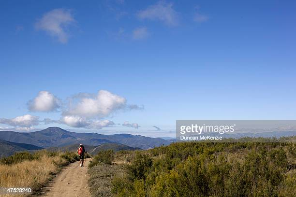 Pilgrim trekker walking in the Spanish mountains
