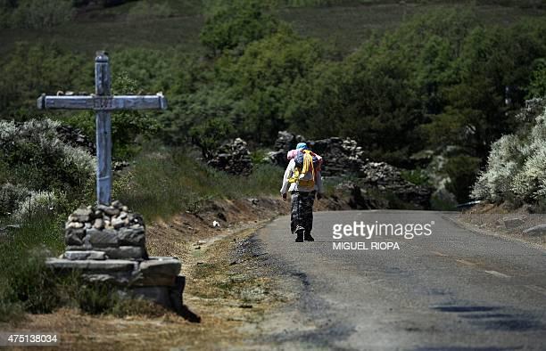 Pilgrim walks alone on the Way of Saint James near the village of Manjarin, between Astorga and Ponferrada, on May 29, 2015. US pilgrim Denise Thiem...