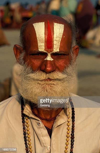 Pilgrim with Vishnu mark on his forehead at Ganga Sagar Mela