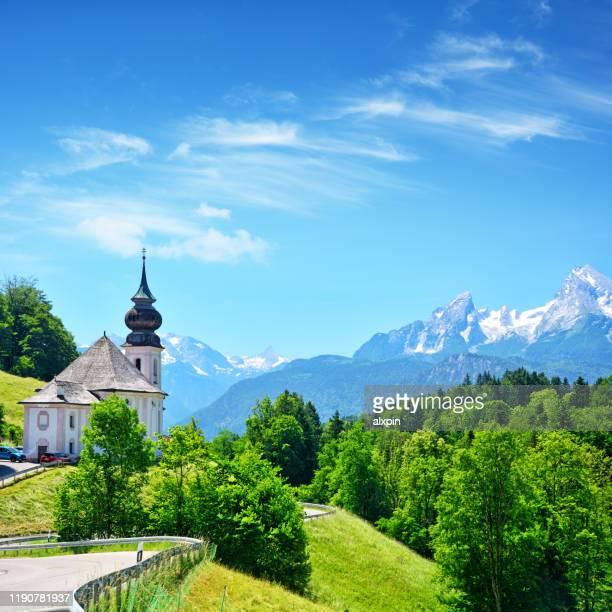 wallfahrtskirche maria gern in berchtesgaden - oberbayern stock-fotos und bilder