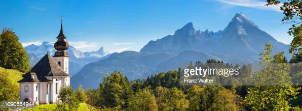 pilgrimage church maria gern, watzmann, berchtesgadener land, national park berchtesgaden, upper bavaria, germany - berchtesgaden national park stock photos and pictures