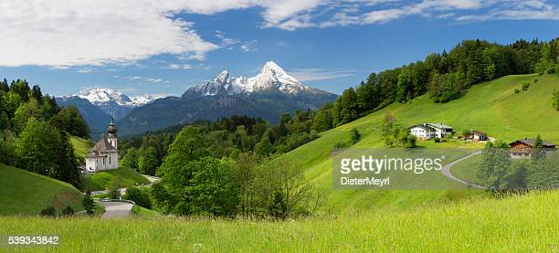 pilgrimage church maria gern with watzmann in background - austria stock photos and pictures